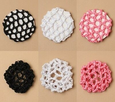 PACK OF 6 SHINY RIBBON 7cm, 10cm DIAMETER BUN NETS - BLACK, WHITE, PINK - DANCE