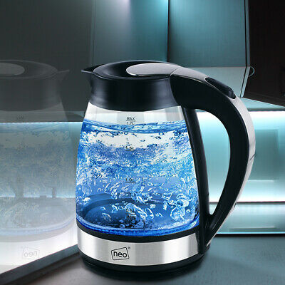 Neo Glass Blue LED Illuminated Electric Kettle 1.7L Cordless