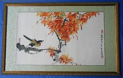 Chinese Watercolour Ink Painting on Paper: Autumn 滿城秋色  By Joe Wu