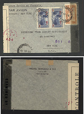 Lebanon  nice double censor cover to  US   1945        KL1116