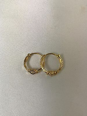 22k Solid Yellow Gold Hoop Earrings With Diamond Cut Design India 916 22 Karat
