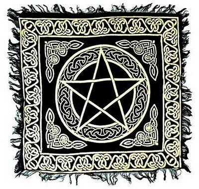 "NEW Gold Pentacle on Black Altar Cloth 18""x 18"""