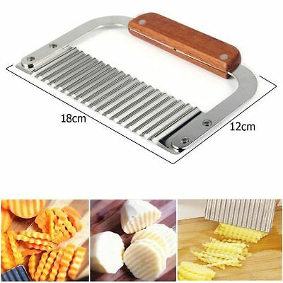 NEW Stainless Steel Potato Chip Dough Vegetable Crinkle Wavy Cutter Blade Tool