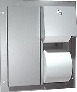 ASI 0032 Toilet Paper Dispenser, Twin Hide-A-Roll - Partition Mounted
