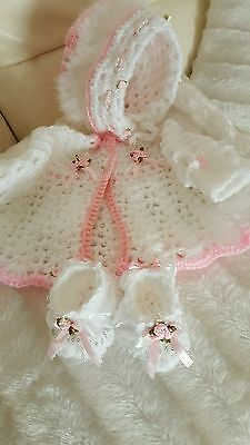 Hand made crocheted baby girl cardigan ,bonnett and bootees set