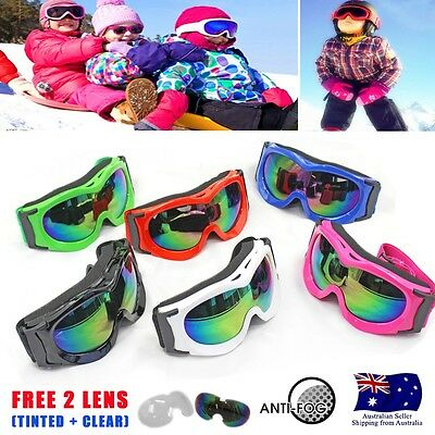 Kids Children Snowboard Skiing Goggles Ski Glasses Anti-fog Free 2 Lens replace
