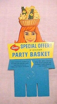 Vintage Squirt Soda - Cardboard Carton Advertising Sign 1965 Party Basket