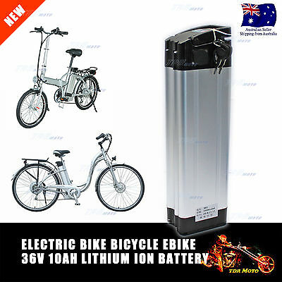 Lithium Battery 36v 10ah Electric Bicycle Bike Cycle Alloy Lockable Silver Fish