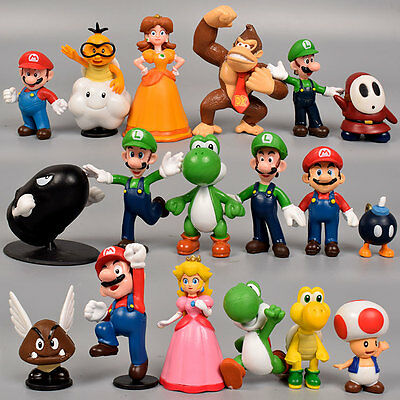 "Colorful Set Of 18 Pcs Super Mario Brothers Bros Figure Toy- 2"" PVC Toys US POST"