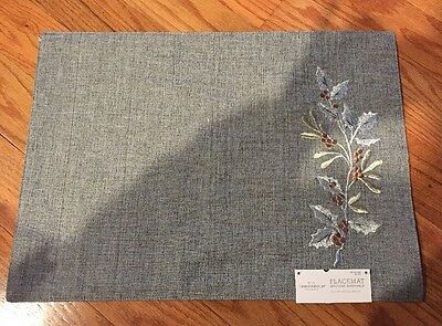 NWT Set Of 4 Threshold™ Gray Tweed W/Silver & Gold Holly Placemats