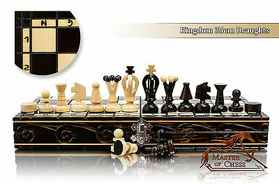 Stunning KINGDOM 36cm DRAUGHTS - Chess and Checkers Wooden Set! Bargain