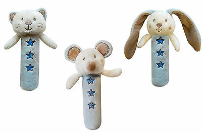 Baby activity toy, plush squeeker, rattle with teether, blue