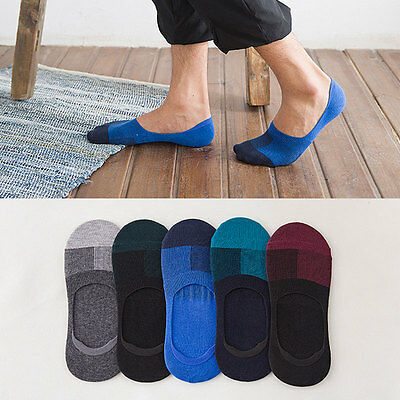 5 Pairs Men's Men Invisible No Show Nonslip Loafer Boat Ankle Low Cut Sock Socks