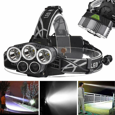 Waterproof 40000LM 5x XML T6 LED Rechargeable USB Headlamp Headlight+ USB Cable