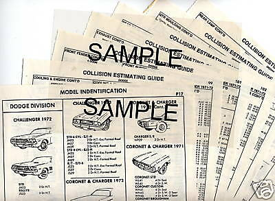 1970 1971 1972 Lincoln Continental Body Parts List Sheets M1