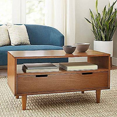 Mid Century Modern Coffee Table Storage Drawer Living Room Furniture Pecan Color