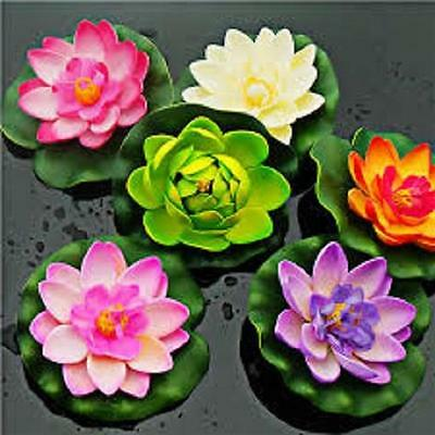 Floating Water Lily, Artificial Lotus Flower Green Lily Pad, Pond Water Feature