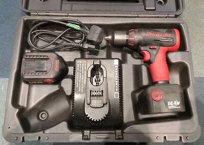"""Snap-On 14.4 13mm 1/2"""" Chuck CDR4450 Cordless Drill 2 Batteries + Charger"""