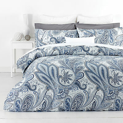New In 2 Linen Paisley Blue Queen Size Quilt / Doona Cover Set Cotton