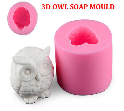 OWL 3D SOAP MOULD Candles/Melts,crafts, Silicone New Hand Crafted Mold NEW AL