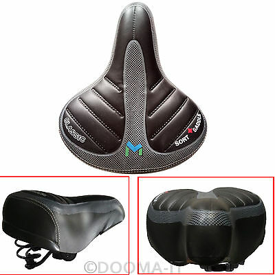 Wide Bike Bicycle Mtb Mountain Gel Cruiser Comfort Sporty Soft Pad Saddle Seat