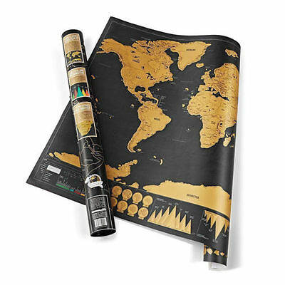 UK Deluxe Travel Edition Scratch Off World Map Poster Personalized Journal Log