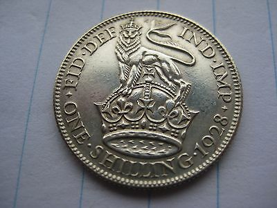 One Shilling George V 5th 1928 Excellent British Coin