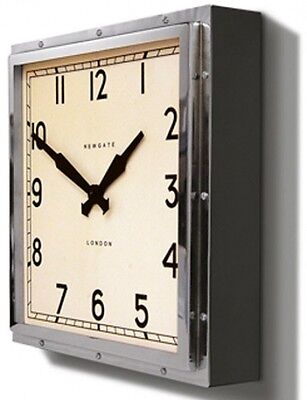Wall Clock Newgate Quad New Chrome Metal Glass Vintage Style Timepiece Art Deco