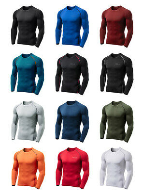 [Tesla] Sports Warm Fleece Compression Base Under Layer Long Sleeve Shirts Top