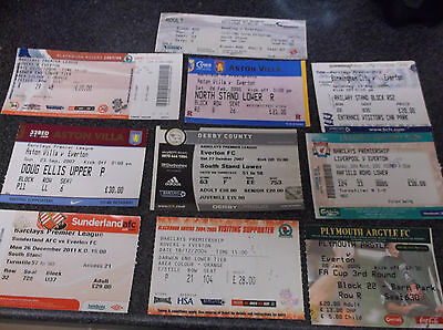Everton  Away Ticket Stubs  X 10  ( Set 2 )