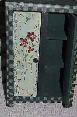 Vintage Hand Painted  Wooden Victoriana Wardrobe  Green With Violets