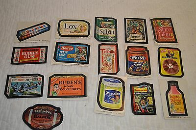 16 VINTAGE 70s TOPPS WACKY PACKAGES LOT OF  CARDS / STICKERS TAN BACK