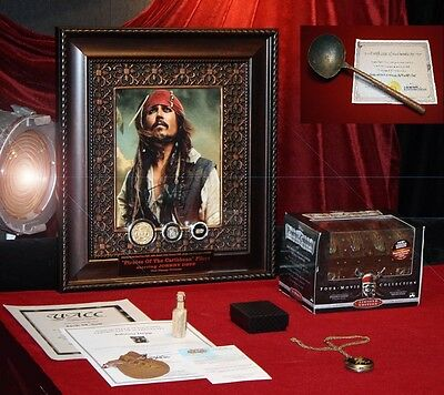 JOHNNY DEPP Signed PIRATES Disney Prop COIN, 1600s COB, NUGGET, Blu Ray UACC COA