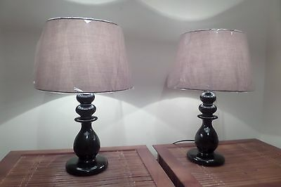 PAIR!  of gorgeous large black table lamps complete with 2 new shades
