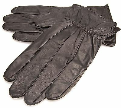 CLEARANCE XL Lorenz Mens Genuine Soft Leather Black Driving Gloves Fleece Lined