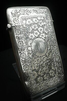 Silver Card Case, Birmingham 1899, Thomas Hayes, Bright Cut Floral Decorated