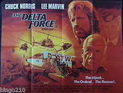 The Delta Force Original 1986 Cinema Quad Poster Chuck Norris Lee Marvin