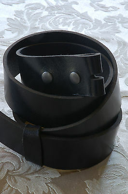 "Custom Cut 1-1/2"" Black Canadian Bridle Leather Belt Fits Your Exact Waist Size"
