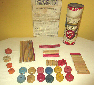Primary Makit TinkerToy Set with tube and instructions 78 pieces VINTAGE