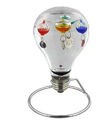 New in box - Light Bulb Design Galileo thermometer On Metal Stand
