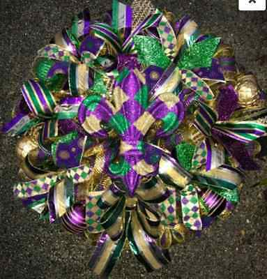 Handmade Xtra-Large Mardi Gras Wreath  Harlequin  Fleur De Lis and Glittered Orn