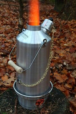Explorer 1L Kettle with Base Silver Anodised Aluminium Ghillie Camping Kettle