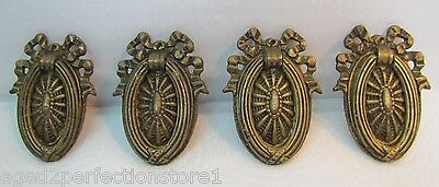 Antique 19c Bronze Drawer Pulls set of 4 ornate detailing 1800s Hardware