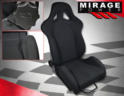 For Gmc Sport 2Pc Reclinable Racing Bucket Seat Cloth Black + Slider Rail Mount