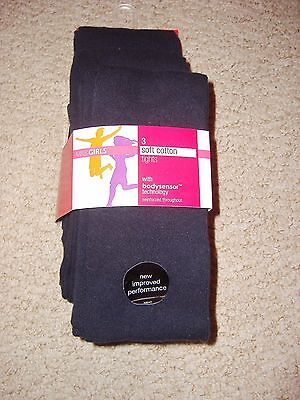 Girls 3 Pack Of Soft Cotton Navy Blue Tights In Ages 4 To 14 Years From M&s Bnwt