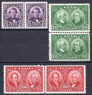 Canada 1927 Historic Issue, SG 271 - 273 Mint Never Hinged pairs, Cat £72