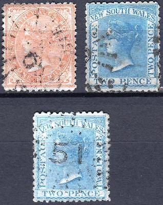 New South Wales,1863, SG 191 - 193, 1d Pale Red & Blue Shades, used, Cat £32