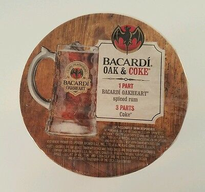 NEW Round Bacardi Rum Oakheart Bar Paper Coasters 100 Pack Man Cave