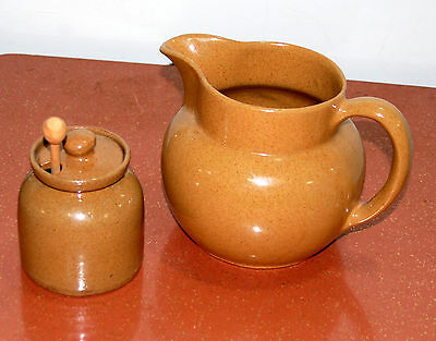"Vintage Brown/ Speckled  Bybee Pottery Kentucky Honey Pot & Pitcher "" B B """