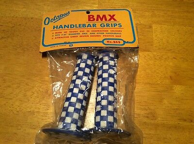 old school bmx NOS octopus blue & white check handlebar grips